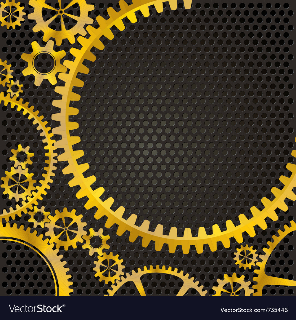 Golden frame gears vector | Price: 1 Credit (USD $1)