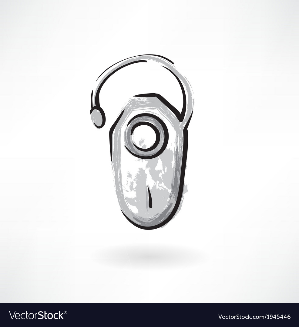 Headset bluetooth grunge icon vector | Price: 1 Credit (USD $1)