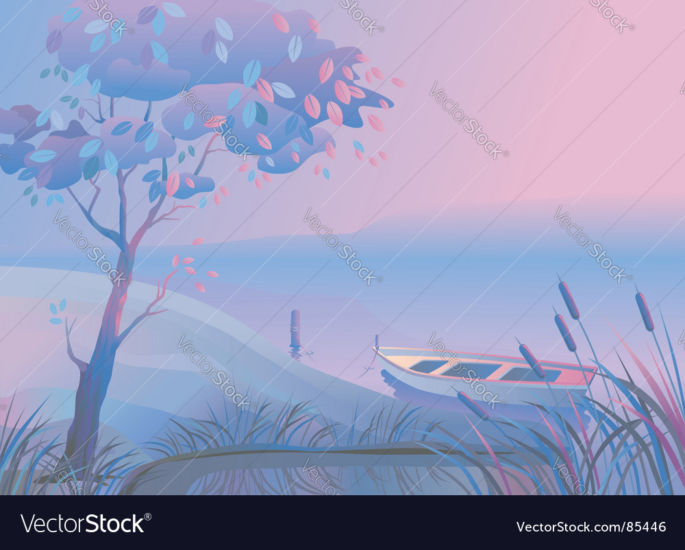 Landscape boat bulrush vector | Price: 1 Credit (USD $1)