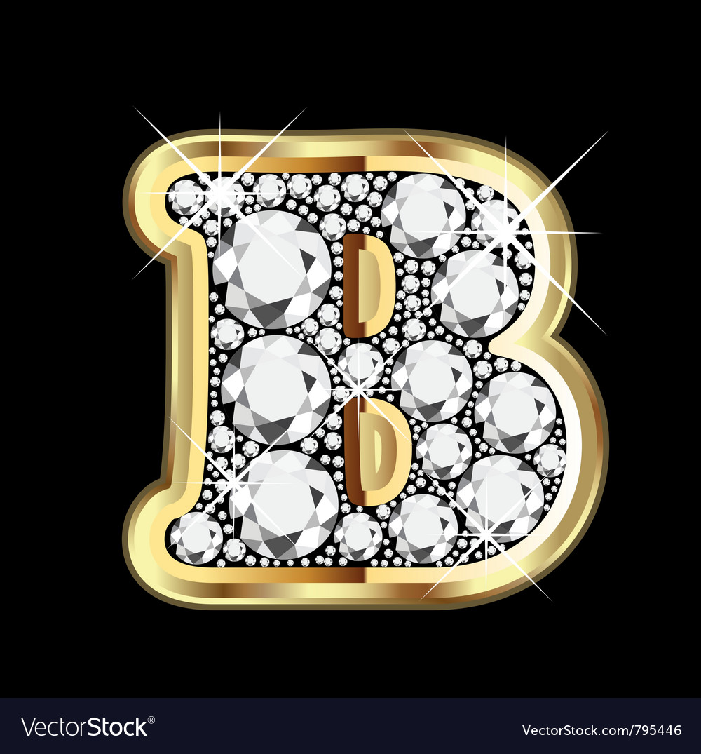 Letter b gold and diamond vector | Price: 1 Credit (USD $1)