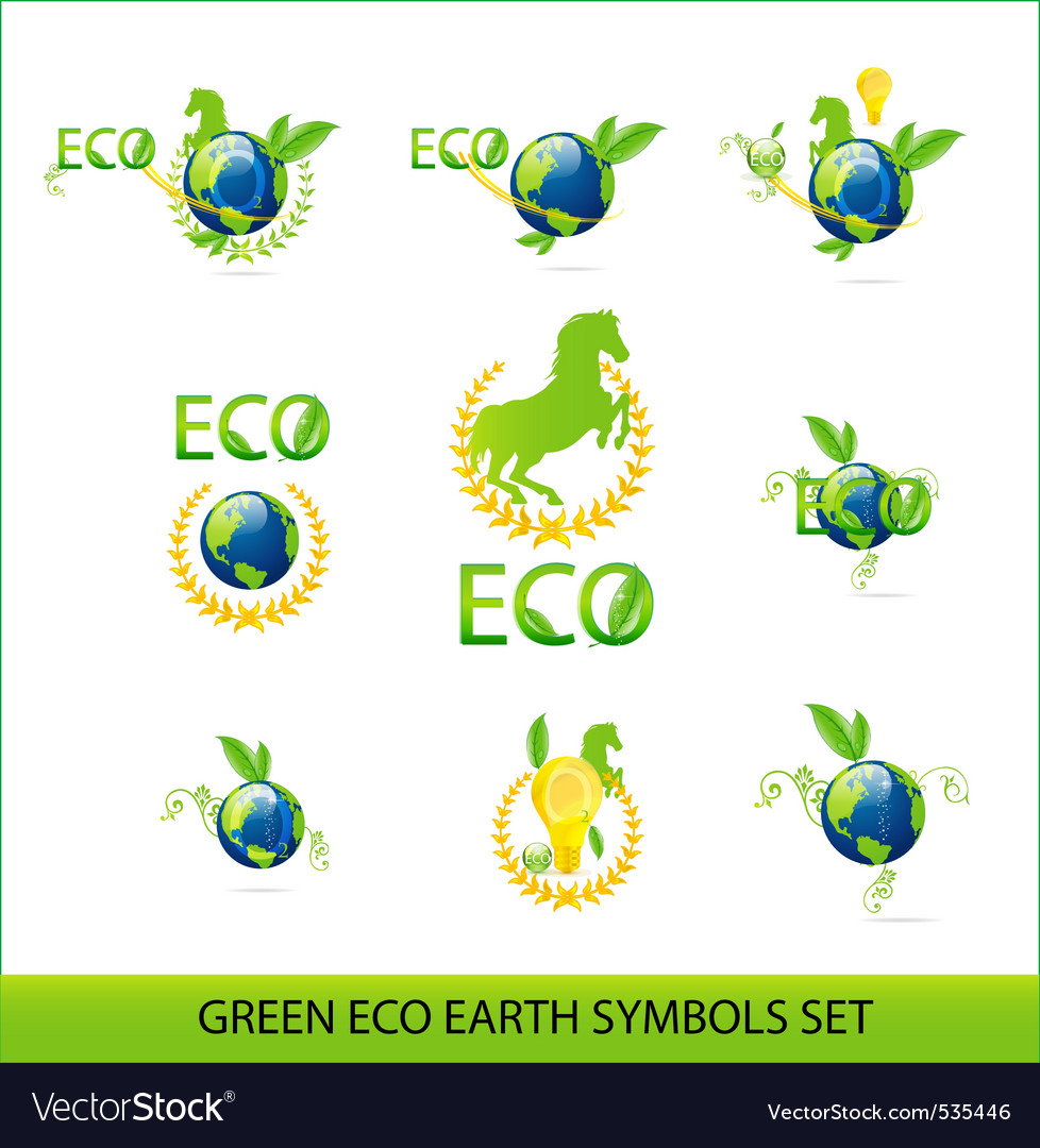 Nature eco earth green color sign set vector | Price: 1 Credit (USD $1)