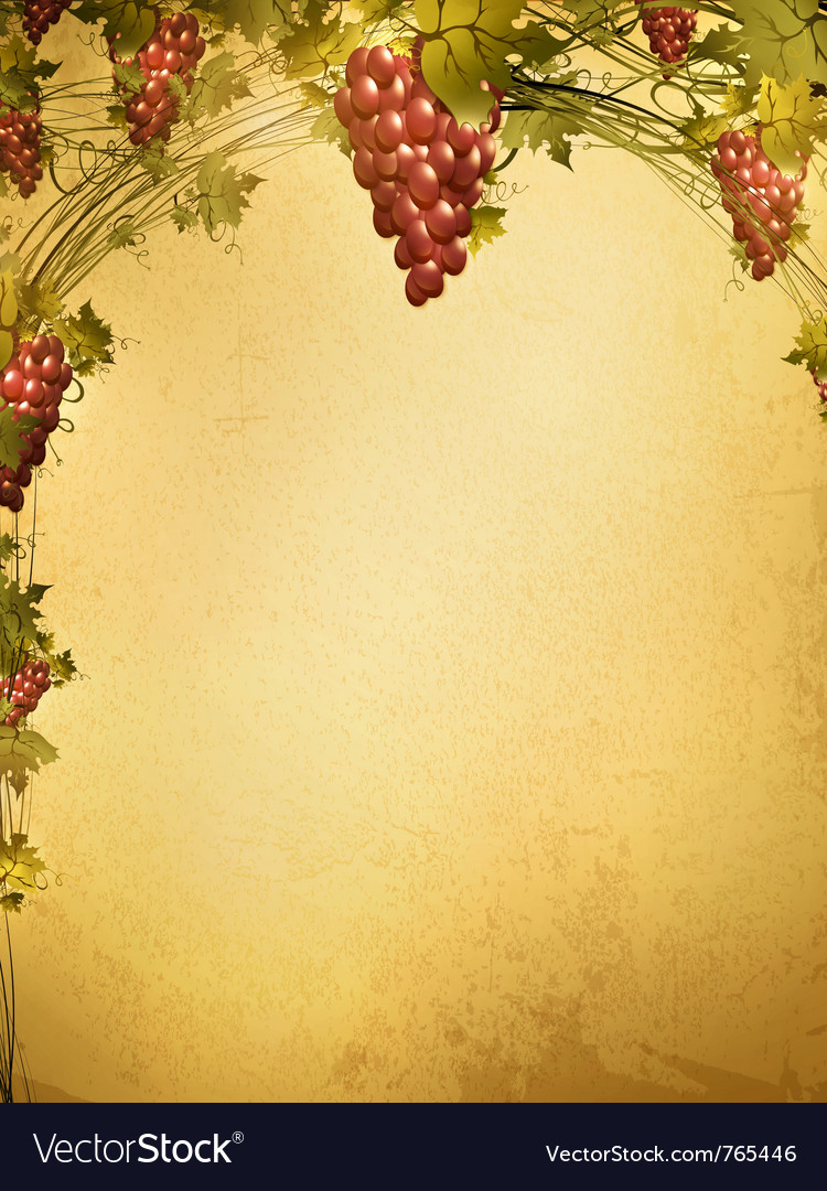 Red grape vine frame vector | Price: 3 Credit (USD $3)