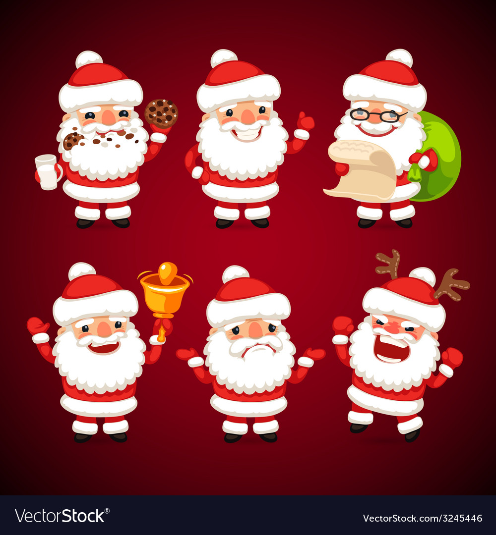 Set of cartoon santa claus poses vector | Price: 3 Credit (USD $3)