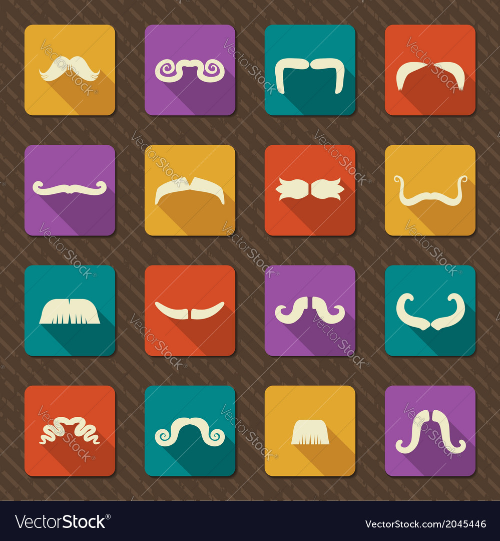 Set of mustaches retro icons vector | Price: 1 Credit (USD $1)
