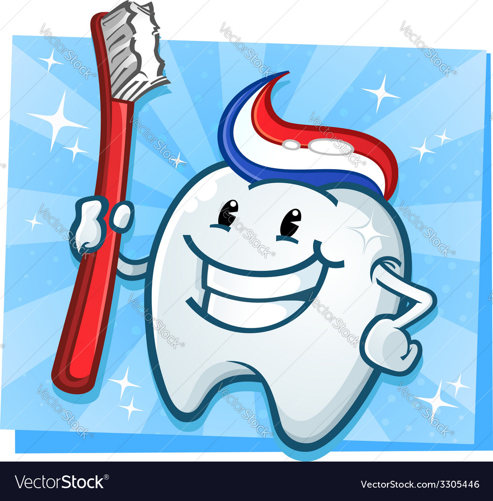 Tooth cartoon character vector | Price: 3 Credit (USD $3)