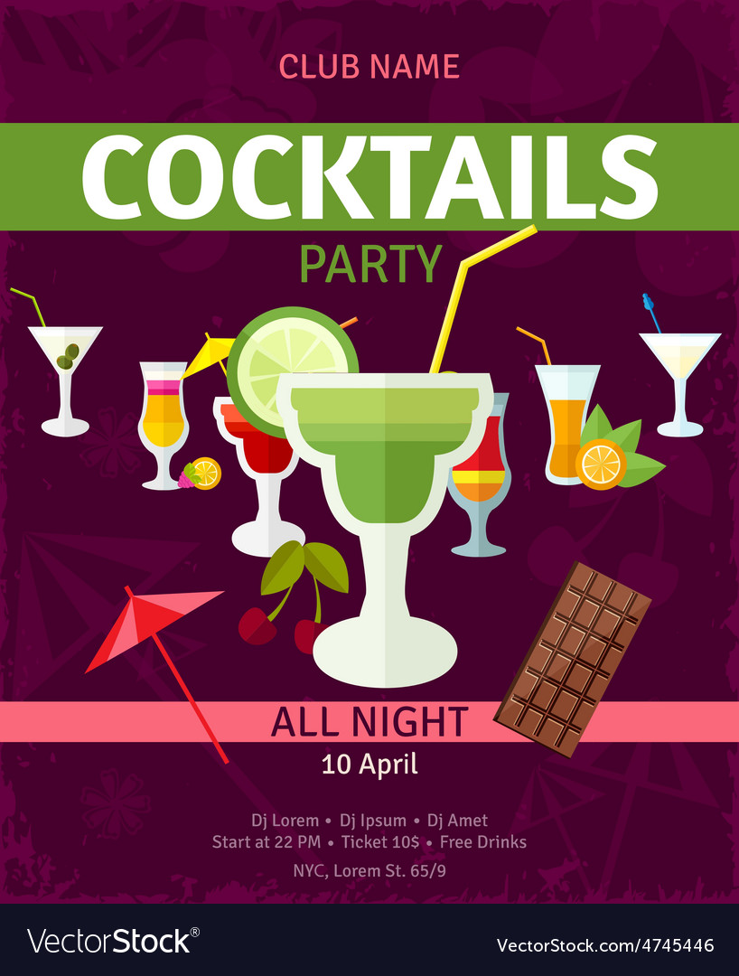 Tropical cocktails night party invitation poster vector | Price: 1 Credit (USD $1)
