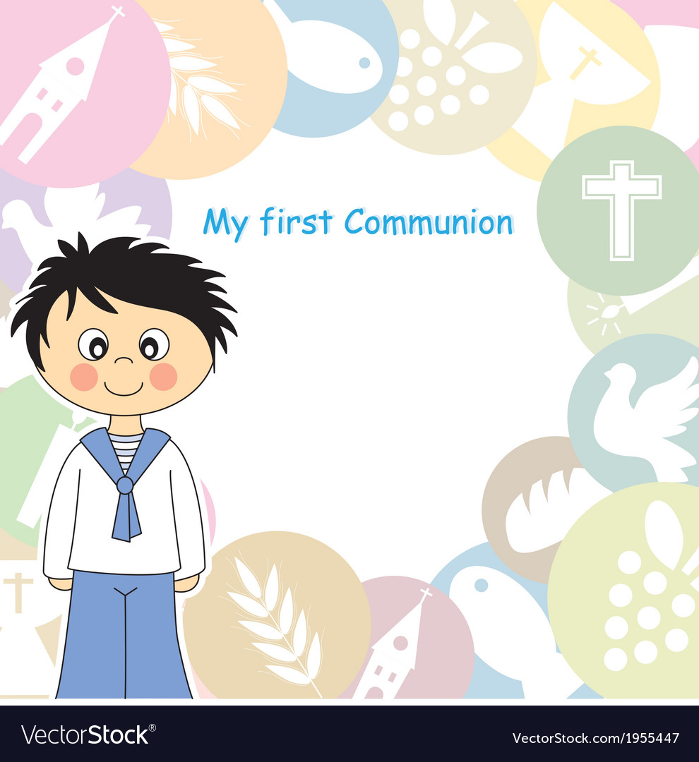 Boy first communion invitation vector | Price: 1 Credit (USD $1)