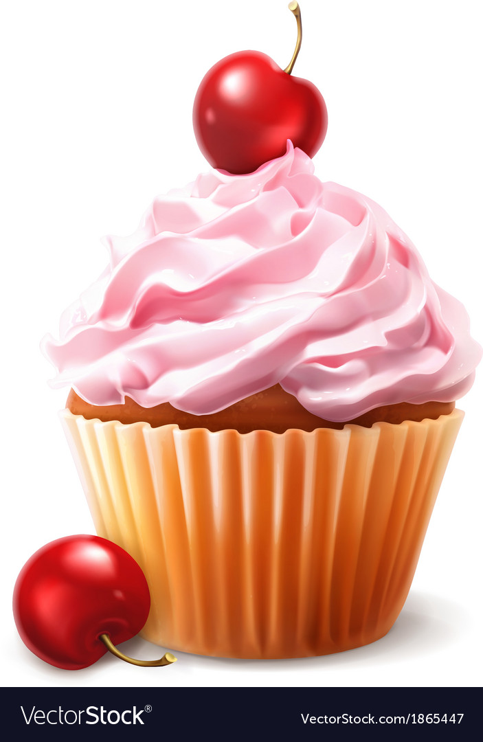 Cherry cupcake vector | Price: 3 Credit (USD $3)