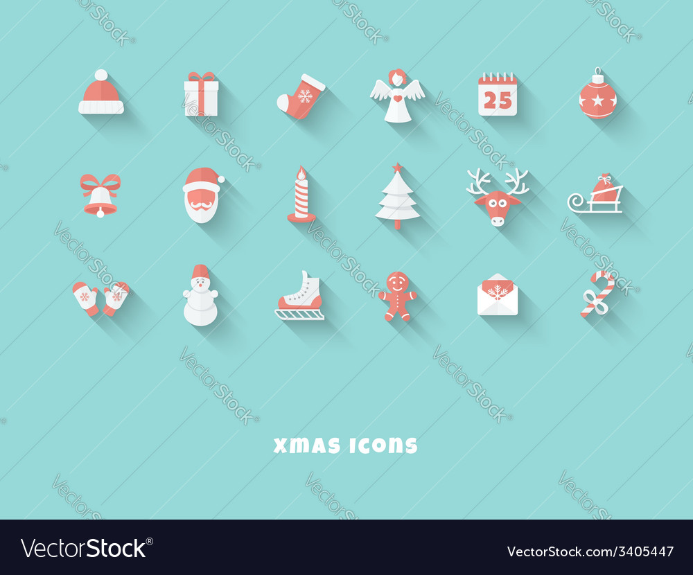 Christmas icons set vector | Price: 1 Credit (USD $1)