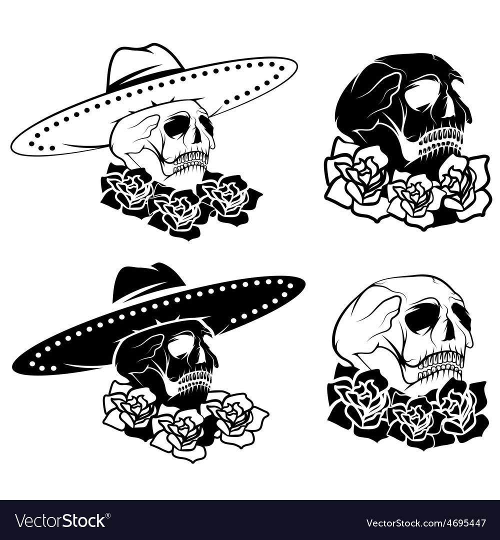 Day of the dead skull with flowers and sombrero vector | Price: 1 Credit (USD $1)