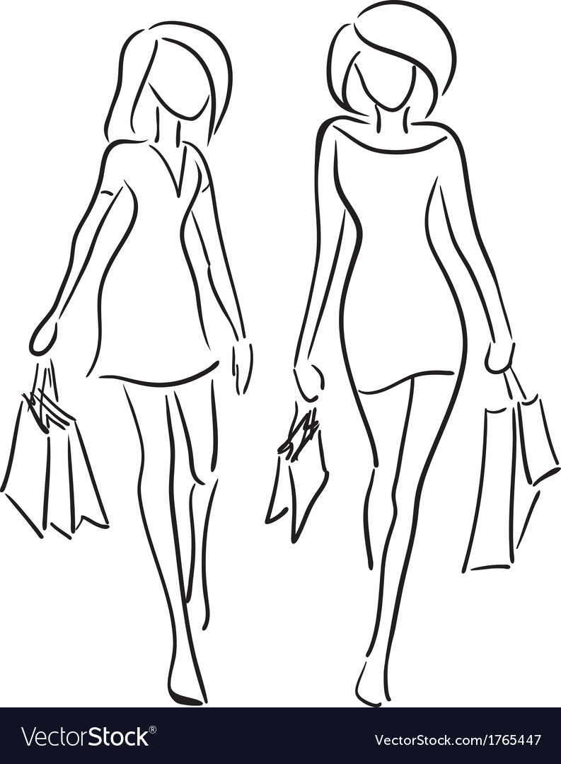 Girlfriends shopping vector | Price: 1 Credit (USD $1)