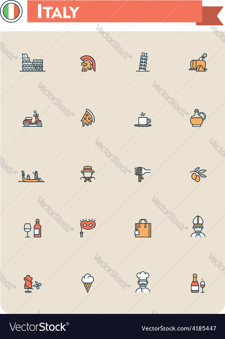 Italy travel icon set vector | Price: 1 Credit (USD $1)
