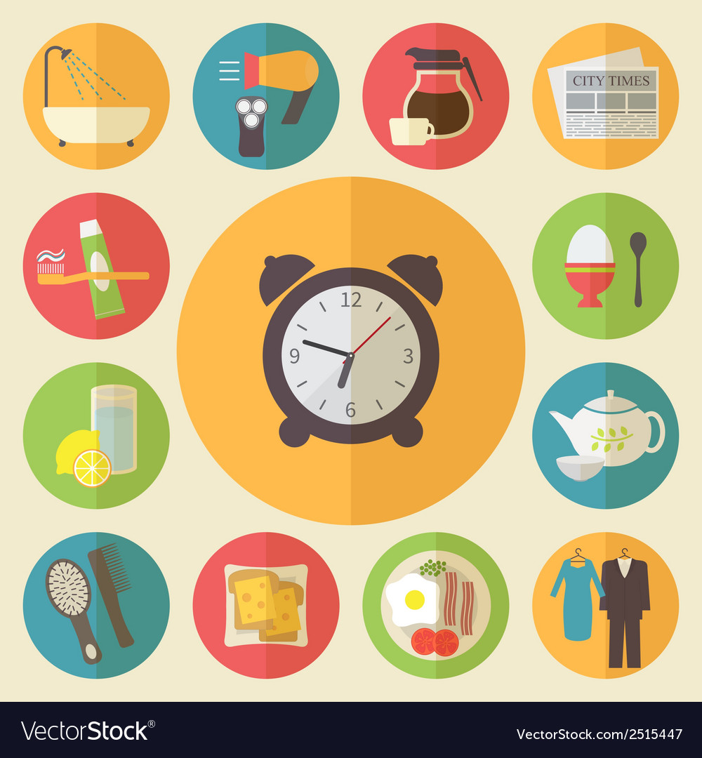 Morning time morning occupation icons set flat vector | Price: 1 Credit (USD $1)