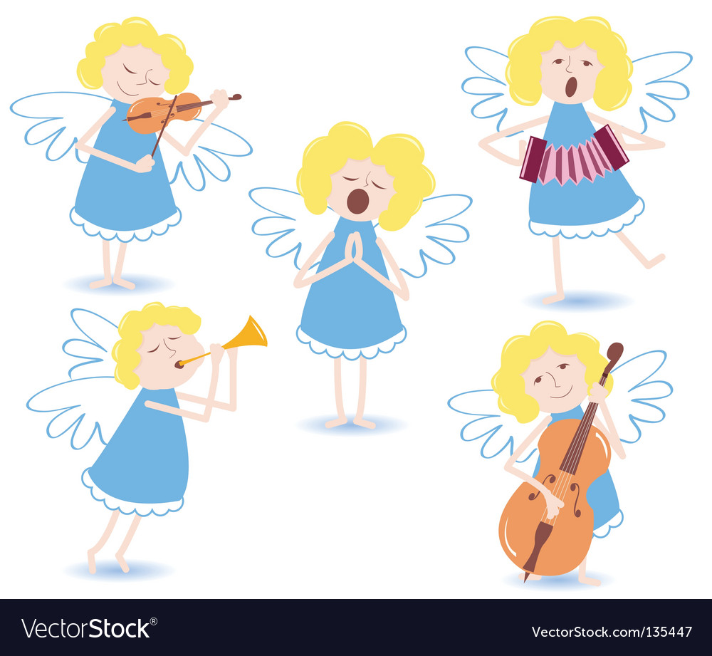 Musical angels vector | Price: 1 Credit (USD $1)