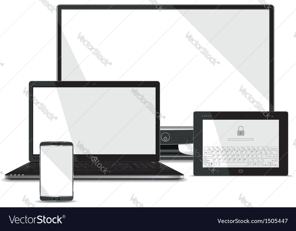 Screens collection - smart phone laptop tablet vector | Price: 1 Credit (USD $1)