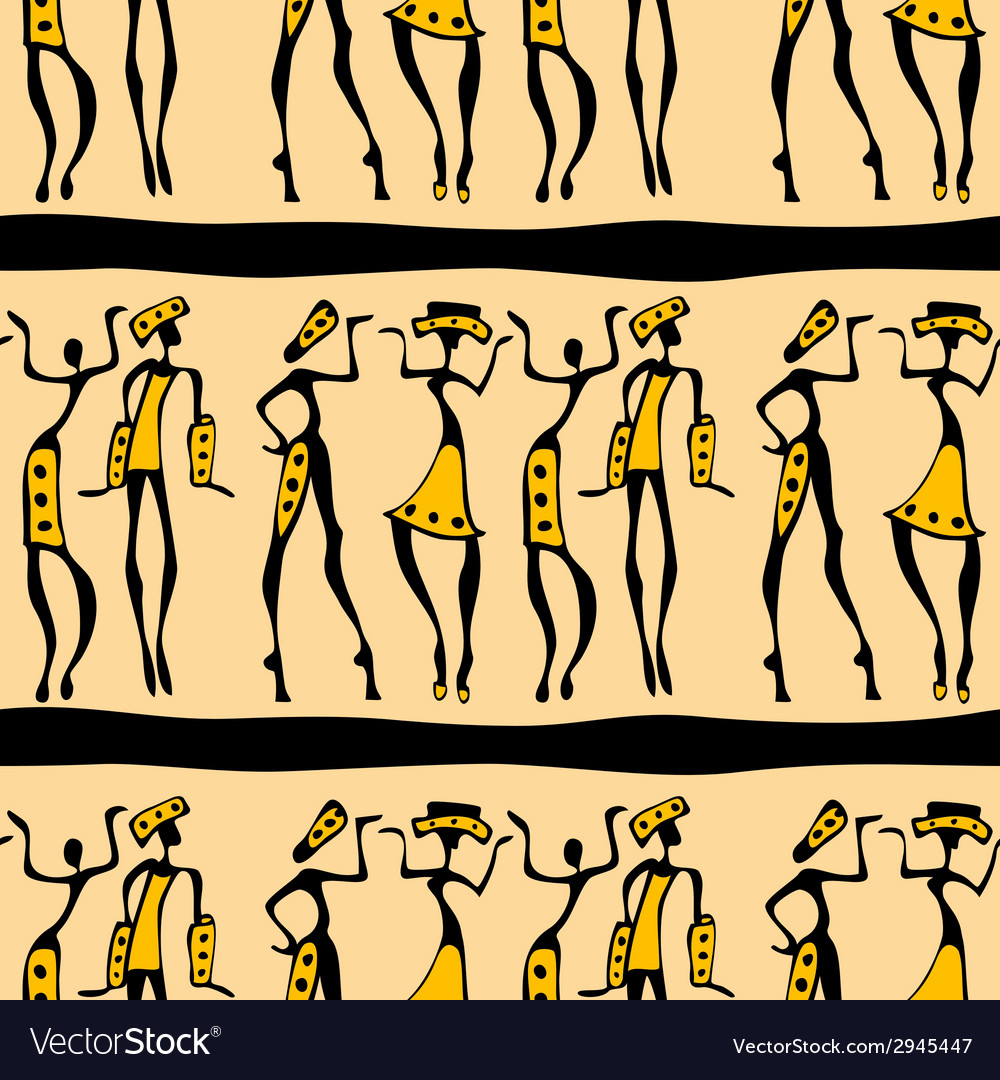 Seamless african dancers vector | Price: 1 Credit (USD $1)