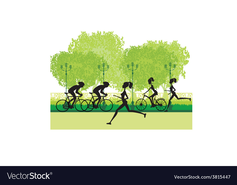 Silhouette of marathon runner and cyclist race vector | Price: 1 Credit (USD $1)