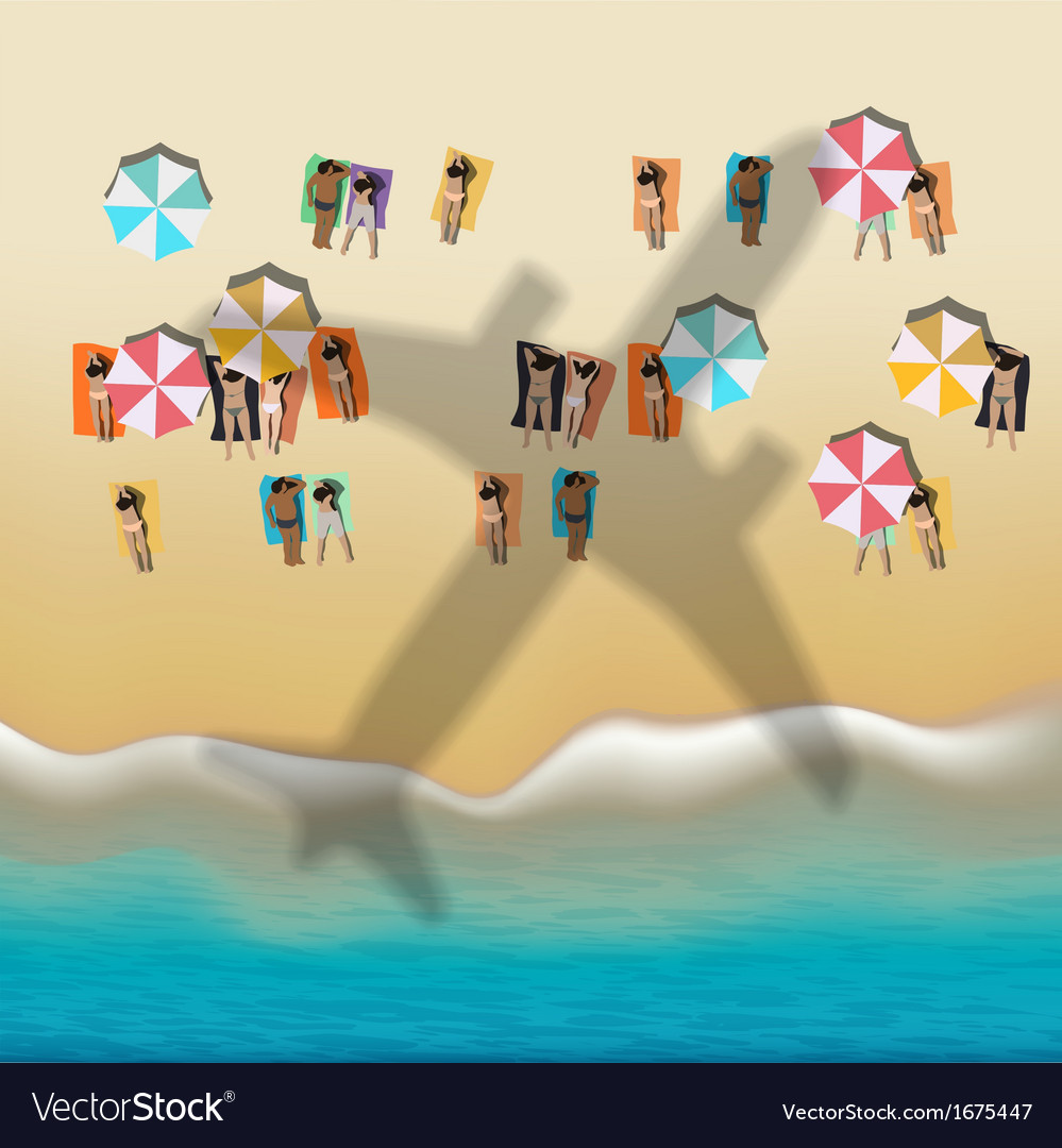 Summer beach with sunbathing people vector | Price: 1 Credit (USD $1)