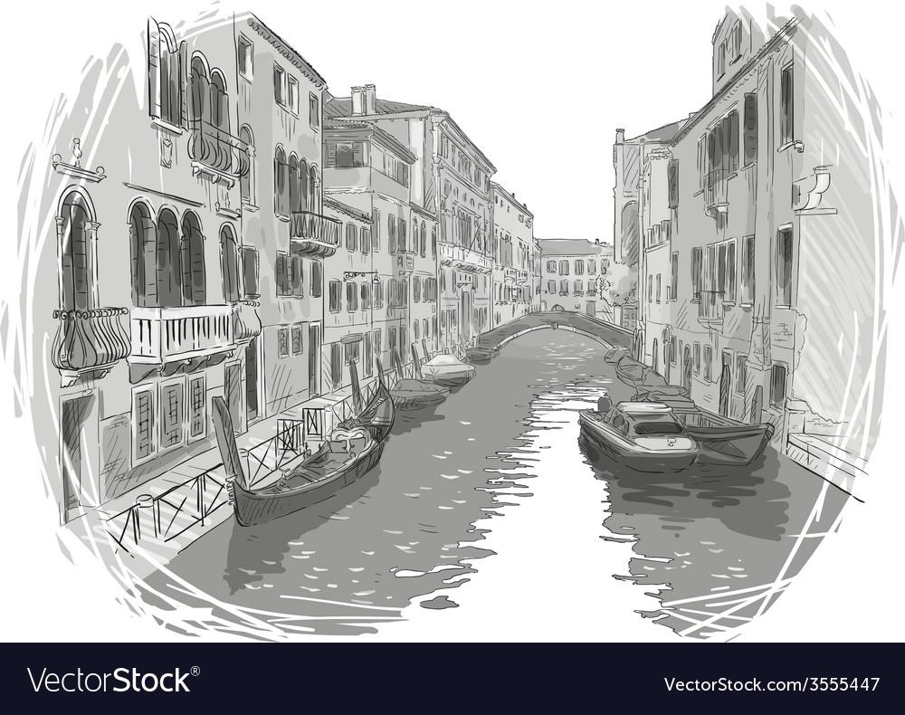 Venice canal sketch vector | Price: 3 Credit (USD $3)