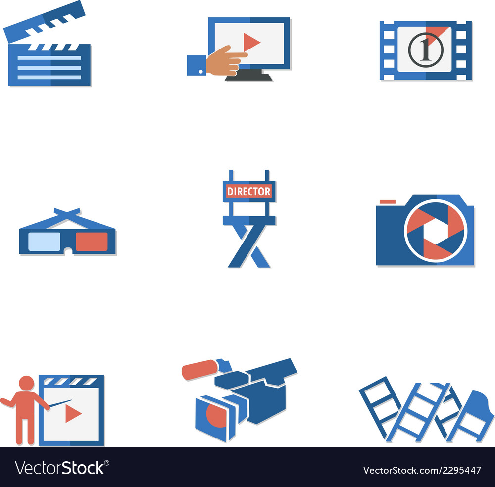 Video and photo tricolor flat icons vector | Price: 1 Credit (USD $1)