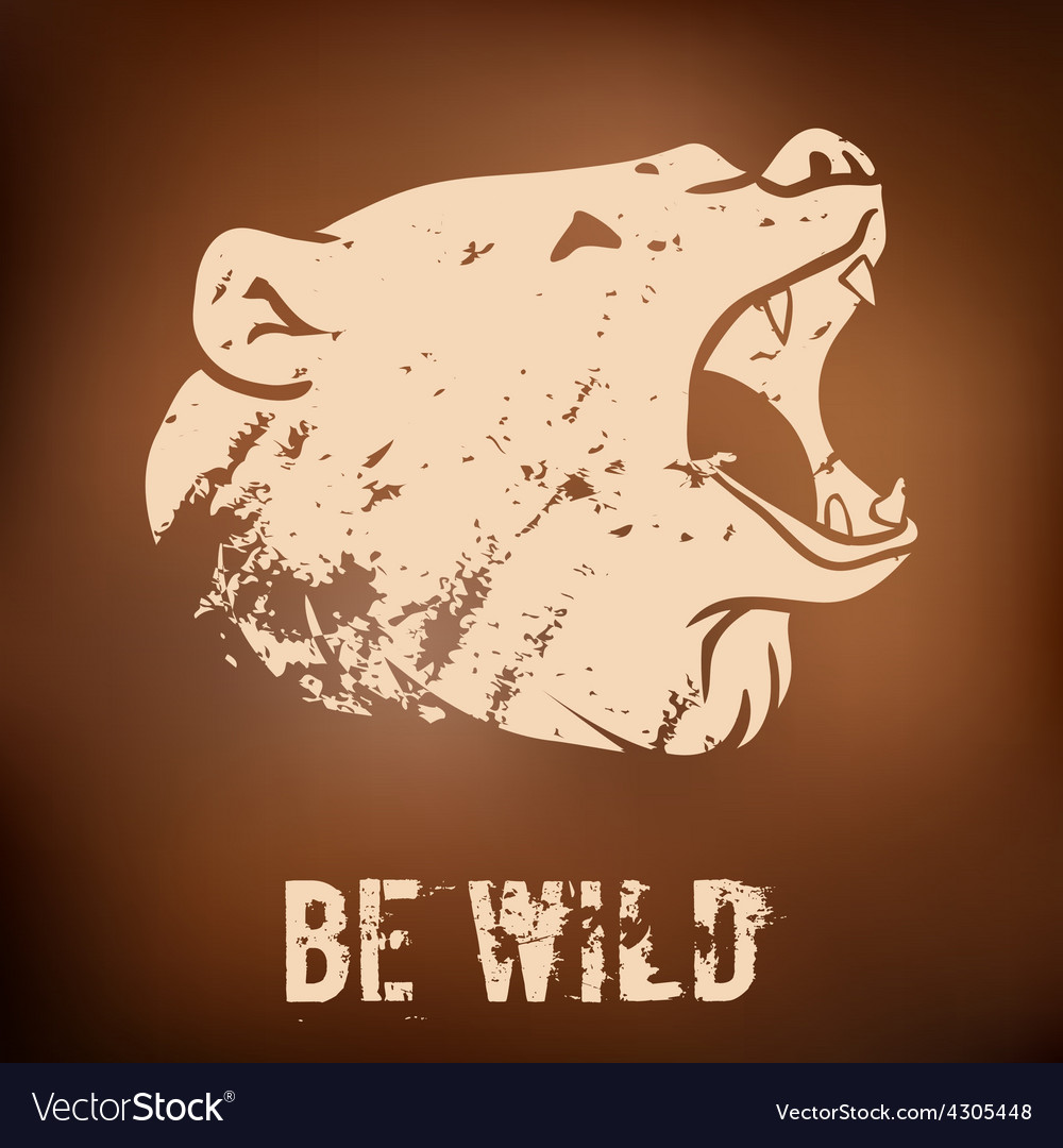 Big black bear roaring vector   Price: 1 Credit (USD $1)