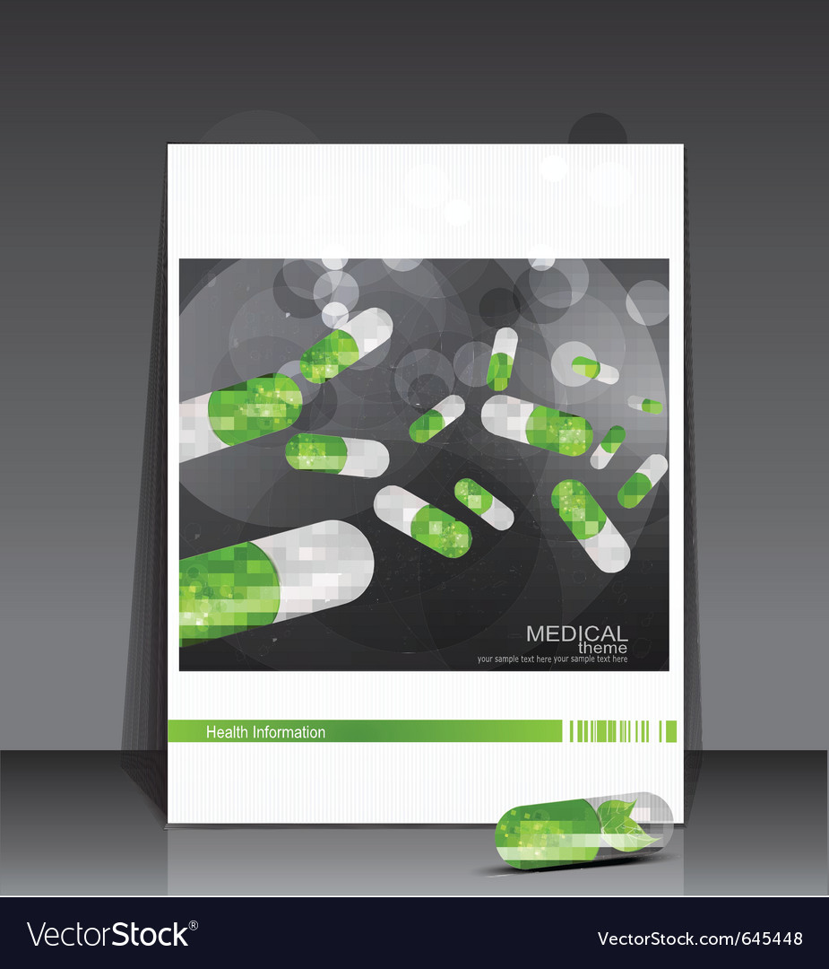 Booklet medical theme with pills vector | Price: 1 Credit (USD $1)
