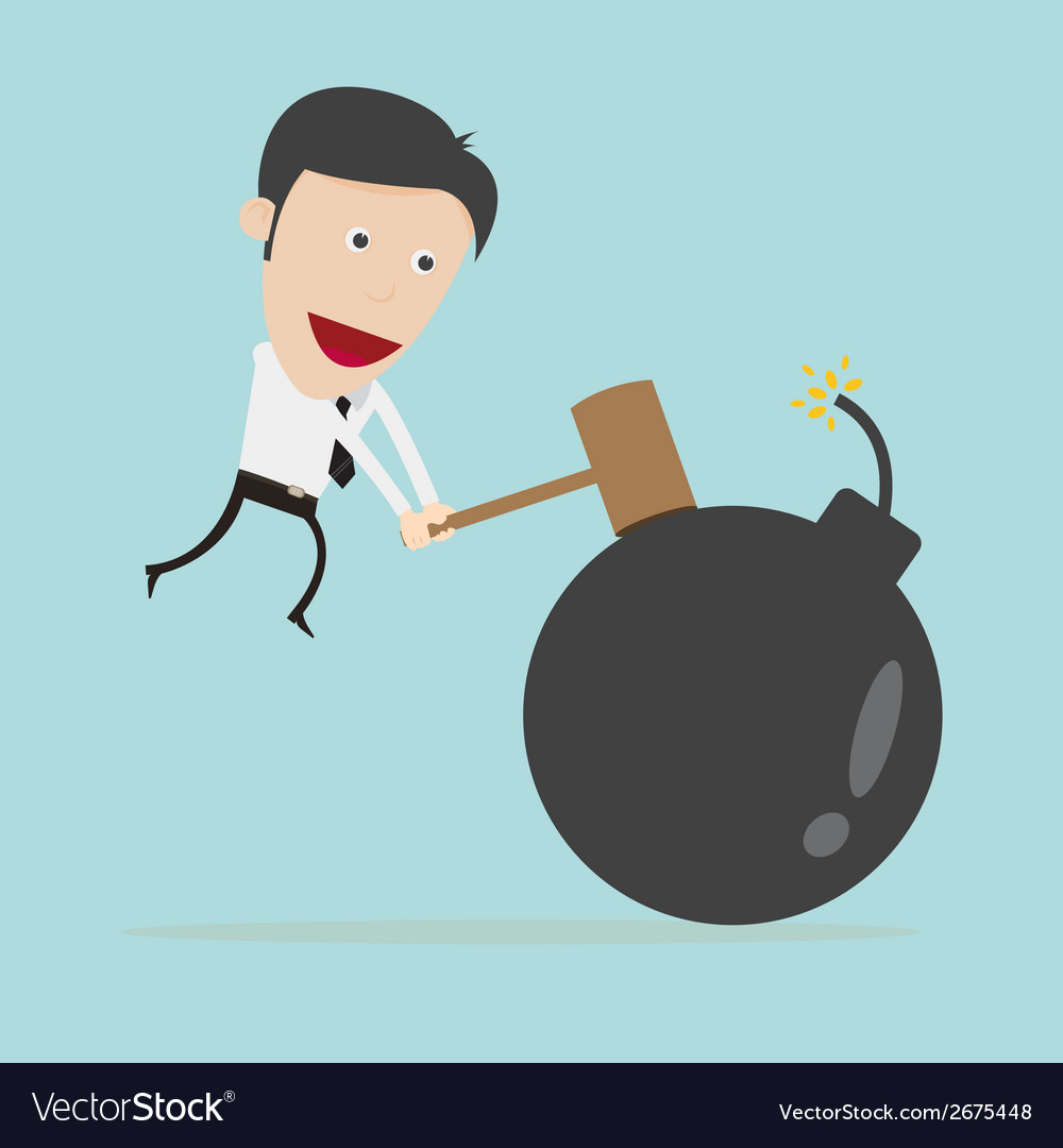 Businessman use hammer hit bomb vector | Price: 1 Credit (USD $1)