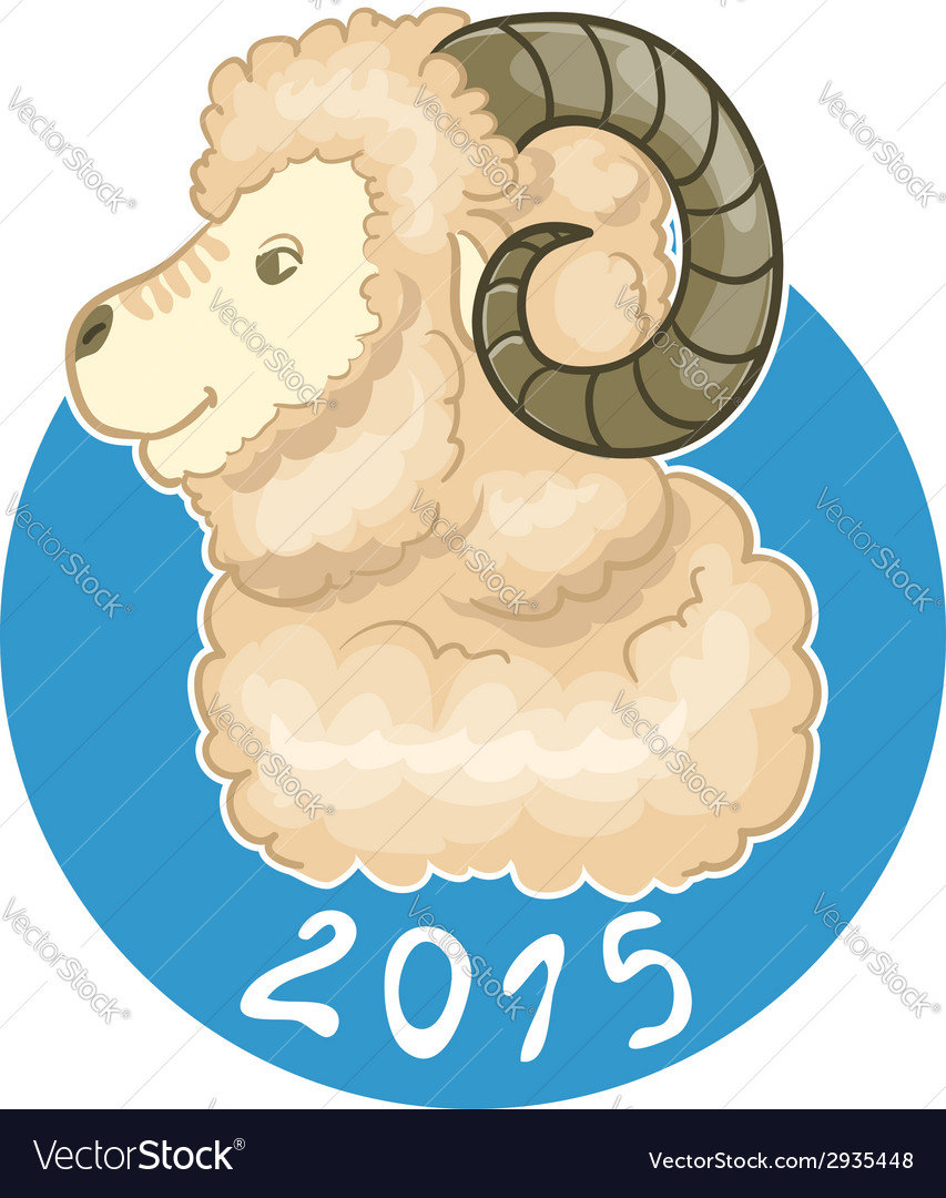 Card with ram on blue background symbol of 2015 vector | Price: 1 Credit (USD $1)