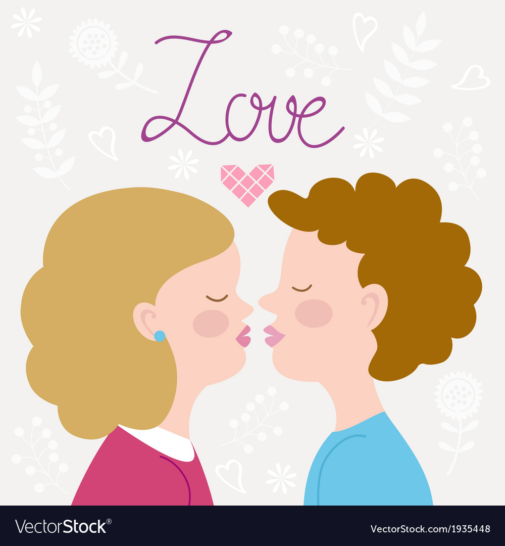Children couple kissing vector | Price: 1 Credit (USD $1)