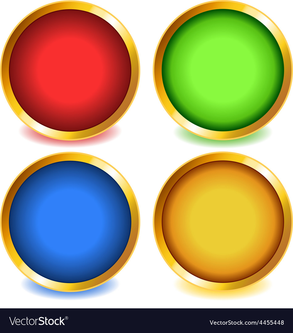 Colorful buttons with gold bevel-set1 vector | Price: 1 Credit (USD $1)