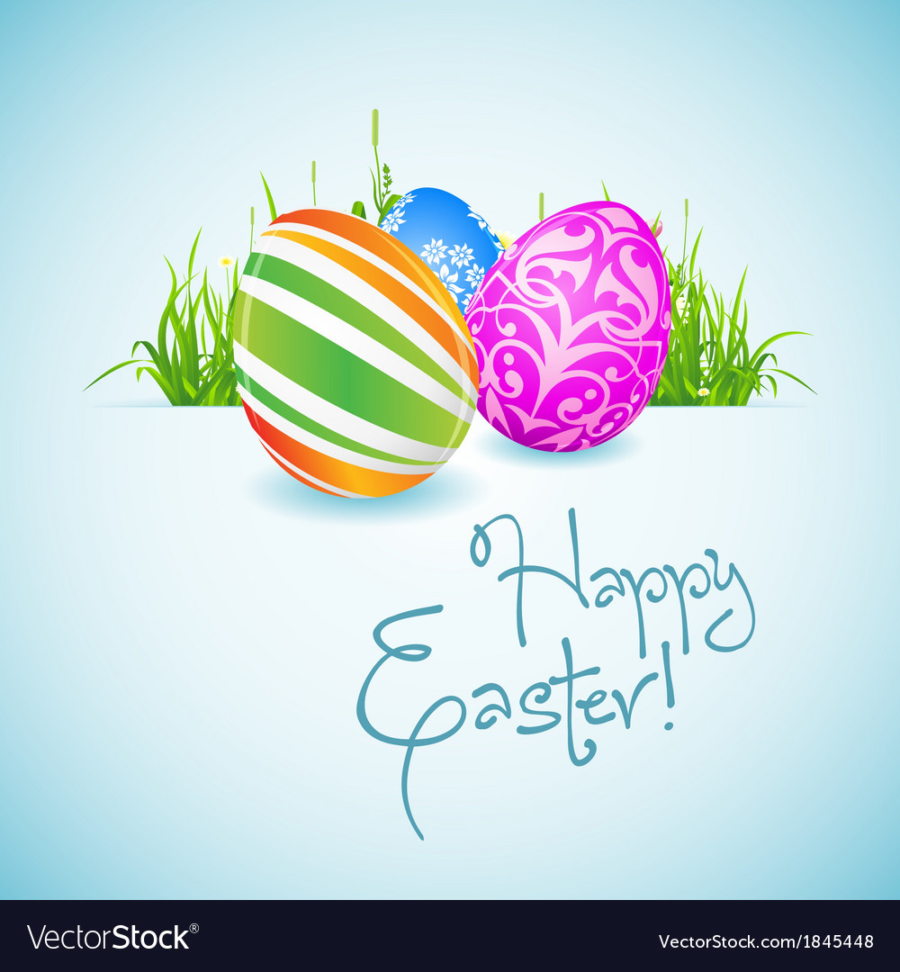 Easter background with decorated eggs vector | Price: 1 Credit (USD $1)