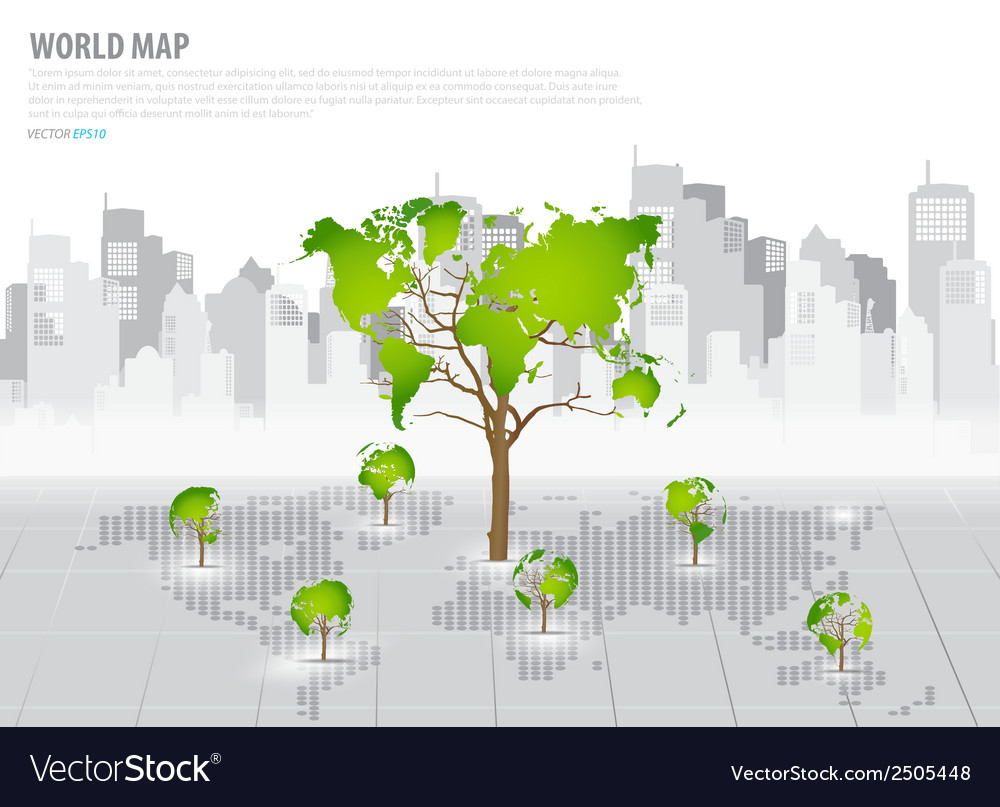 Green economy concept tree shaped world map with vector | Price: 1 Credit (USD $1)