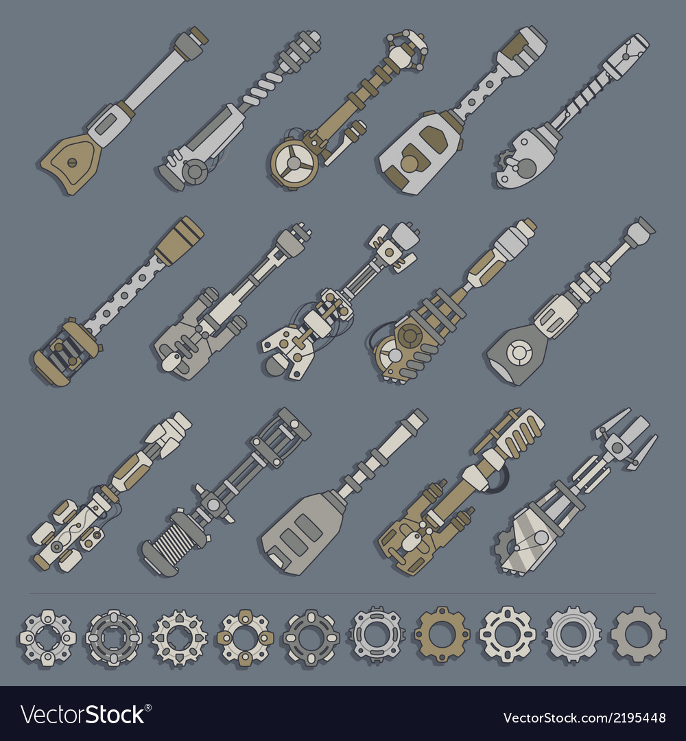 Large set of weapons and gears vector | Price: 1 Credit (USD $1)