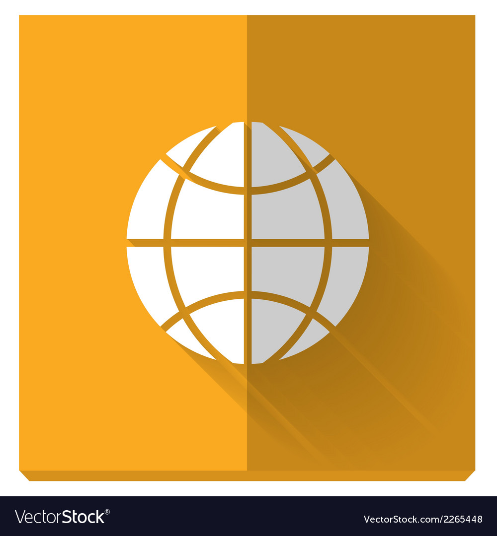 Paper flat icon with a shadow symbol of globe vector | Price: 1 Credit (USD $1)