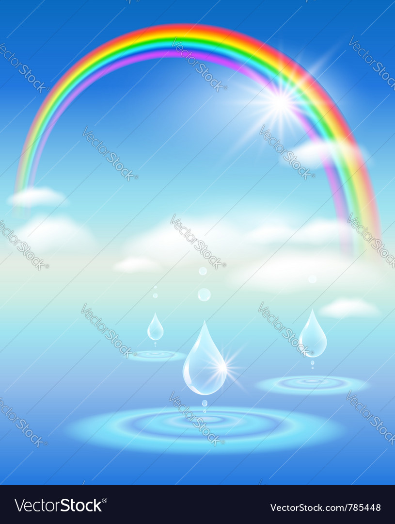 Rainbow water and sunshine vector | Price: 1 Credit (USD $1)