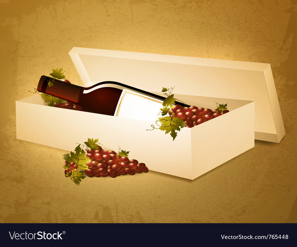 Red wine bottle in box vector | Price: 3 Credit (USD $3)