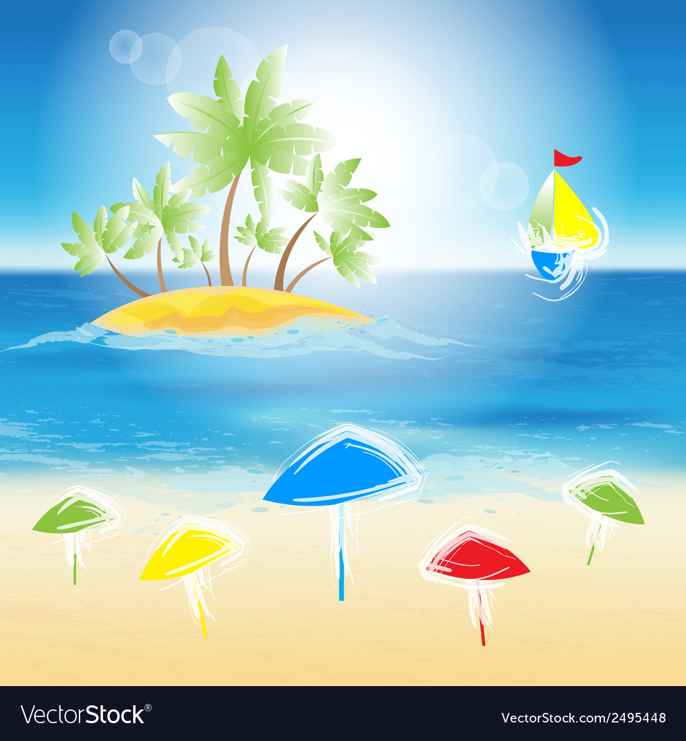 Sand beach vector | Price: 1 Credit (USD $1)