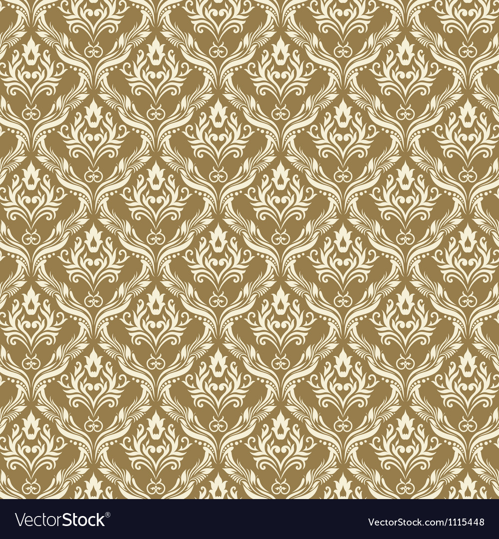 Seamless damask wallpaper 3 beige color vector | Price: 1 Credit (USD $1)
