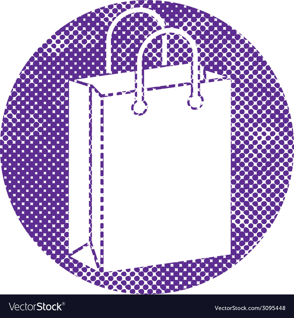 Shopping bag icon with pixel print halftone dots vector | Price: 1 Credit (USD $1)