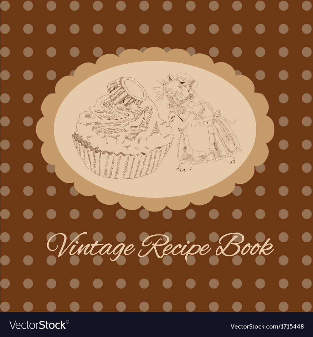 Vintage mouse and cake for your design vector | Price: 1 Credit (USD $1)