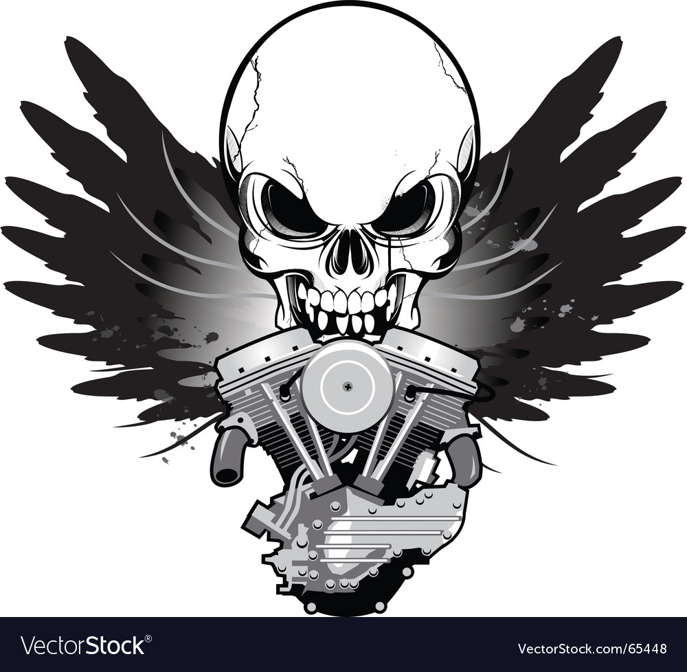 Winged skull v-twin vector | Price: 1 Credit (USD $1)