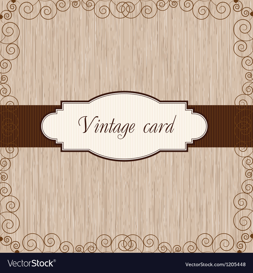 Wooden vintage postcard vector | Price: 1 Credit (USD $1)