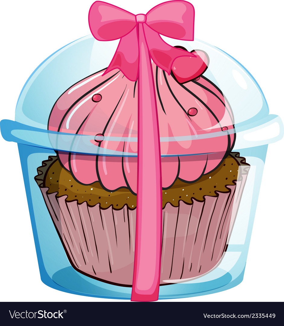A cupcake container with a pink ribbon vector | Price: 1 Credit (USD $1)