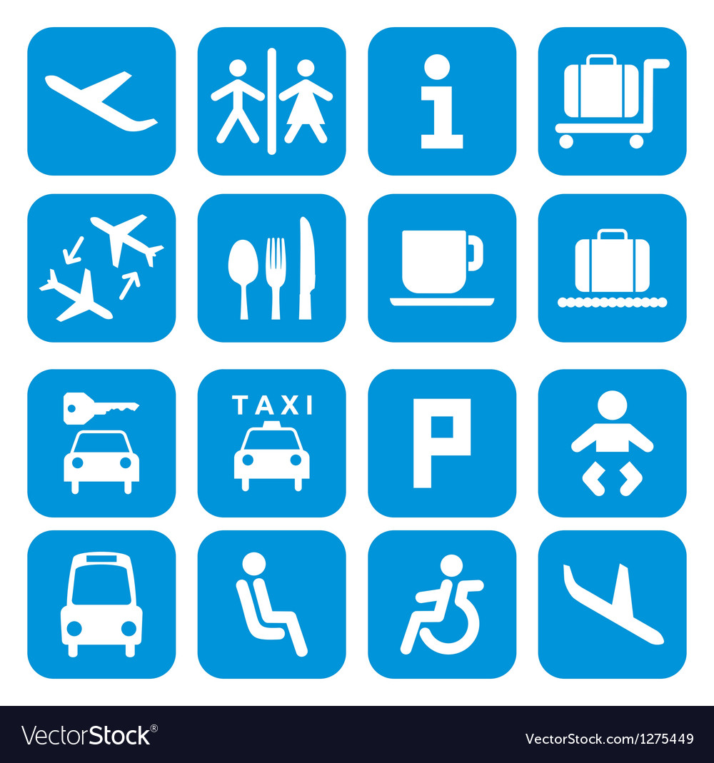 Airport icons - pictogram set vector | Price: 1 Credit (USD $1)