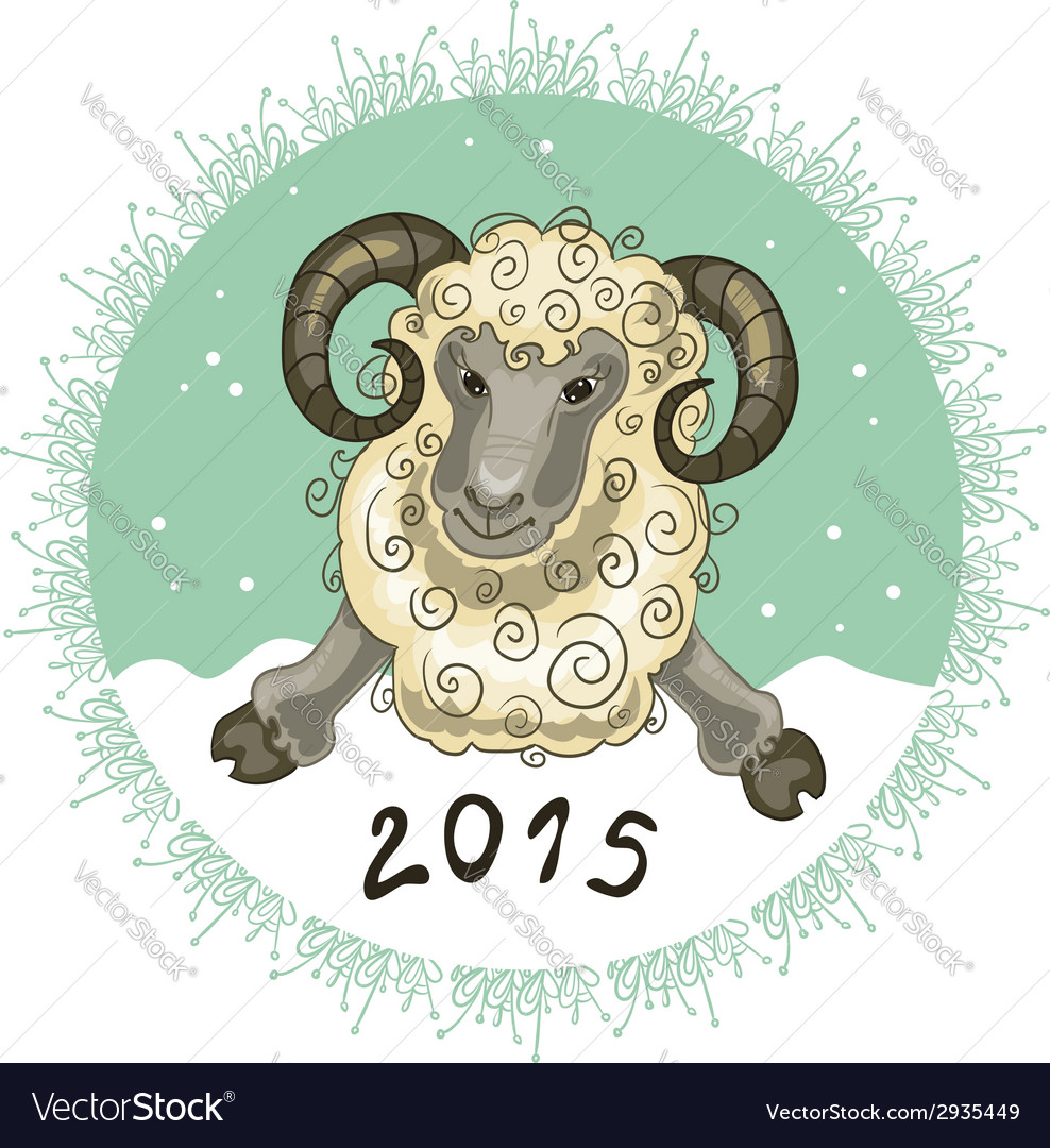 Card with ram on grey-green background symbol of vector | Price: 1 Credit (USD $1)