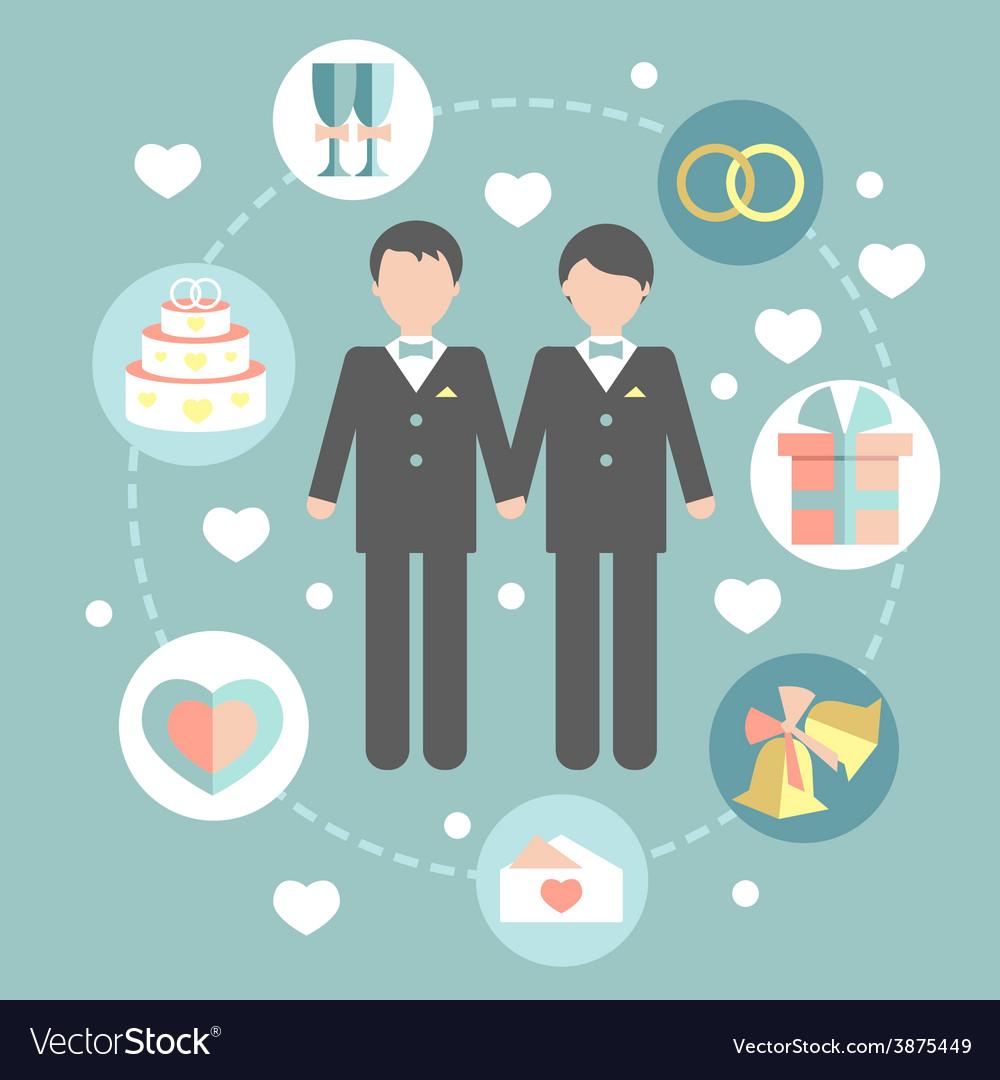 Happy gay couple in wedding attire and casual vector | Price: 1 Credit (USD $1)