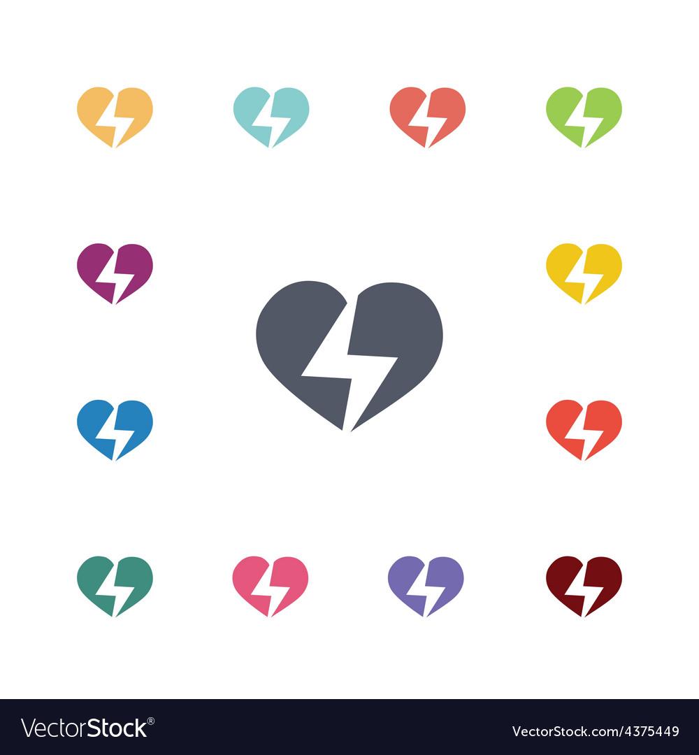 Heart lightning flat icons set vector | Price: 1 Credit (USD $1)