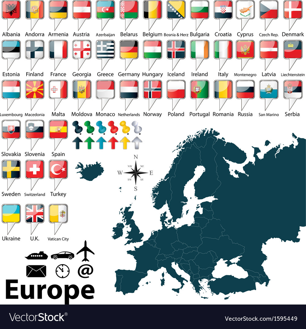Political map of europe vector | Price: 1 Credit (USD $1)