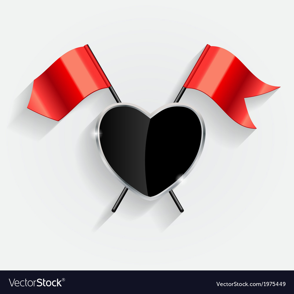 Protective heart shield with red flags vector | Price: 1 Credit (USD $1)