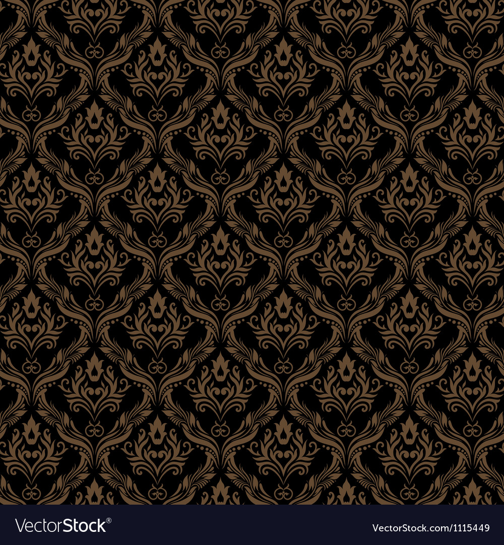 Seamless damask wallpaper 3 black golden color vector | Price: 1 Credit (USD $1)